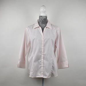 🆕Eddie Bauer Pink & White Stripe Button down XL